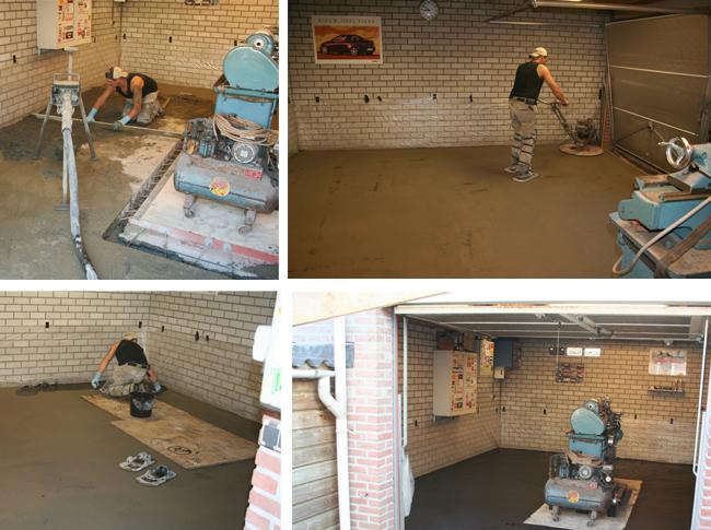Gepleisterde cementdekvloer in garage