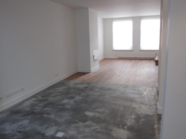 Gepleisterde cementdekvloer waarbij op verzoek van de klant wittekind cement is toegevoegd in de pleisterlaag waardoor er witte accenten in de vloer zijn ontstaan.